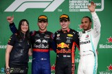 The Podium : Second Place Pierre Gasly (Scuderia Toro Rosso, STR14), Race Winner Max Verstappen (Red Bull Racing) and Third Place Lewis Hamilton (Mercedes AMG F1 Team)