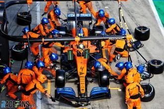 Pit Stop for Lando Norris, McLaren Renault, MCL36