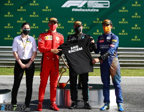 The Podium : Second Place Charles Leclerc (Scuderia Ferrari), Race Winner Valtteri Bottas (Mercedes AMG F1 Team) and Third Place Lando Norris (McLaren Renault)