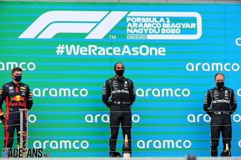 The Podium : Second Place Max Verstappen (Red Bull Racing), Race Winner Lewis Hamilton (Mercedes AMG F1 Team) and Third Place Valtteri Bottas (Mercedes AMG F1 Team)