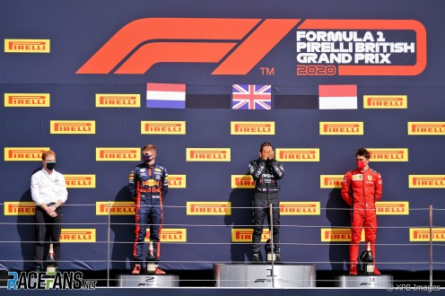 The Podium : Second Place Max Verstappen (Red Bull Racing), Race Winner Lewis Hamilton (Mercedes AMG F1 Team) and Third Place Charles Leclerc (Scuderia Ferrari)
