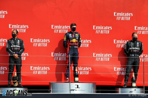 The Podium : Second Place Lewis Hamilton (Mercedes AMG F1 Team), Race Winner Max Verstappen (Red Bull Racing) and Third Place Valtteri Bottas (Mercedes AMG F1 Team)