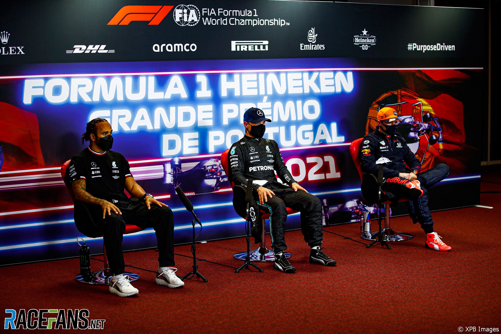 The Top Three Qualifiers : Second Place Lewis Hamilton, Pole Position Valtteri Bottas and Third Place Max Verstappen
