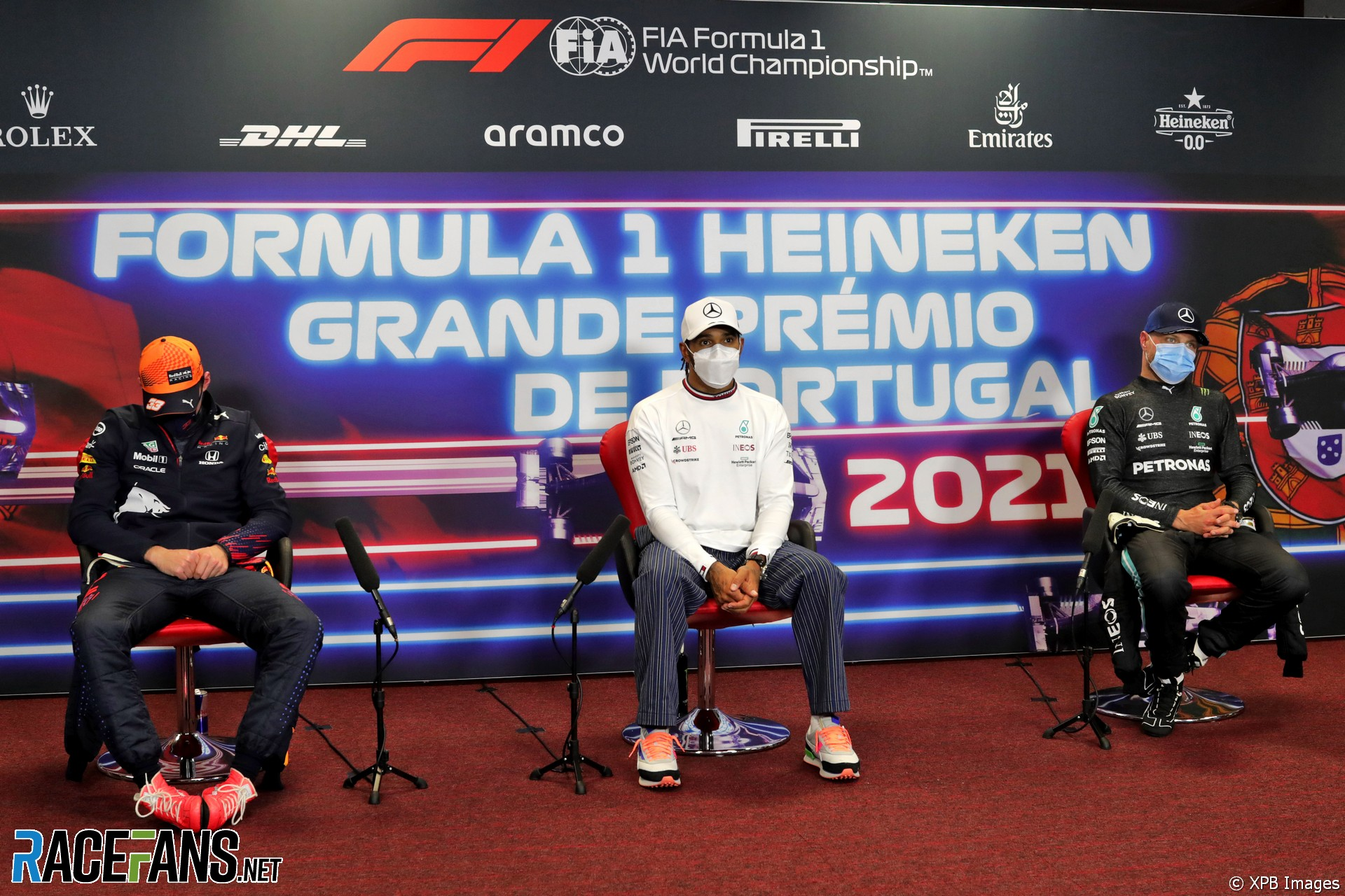 The Top Three : Second Place Max Verstappen (Red Bull Racing), Race Winner Lewis Hamilton (Mercedes AMG F1 Team) and Third Place Valtteri Bottas (Mercedes AMG F1 Team)