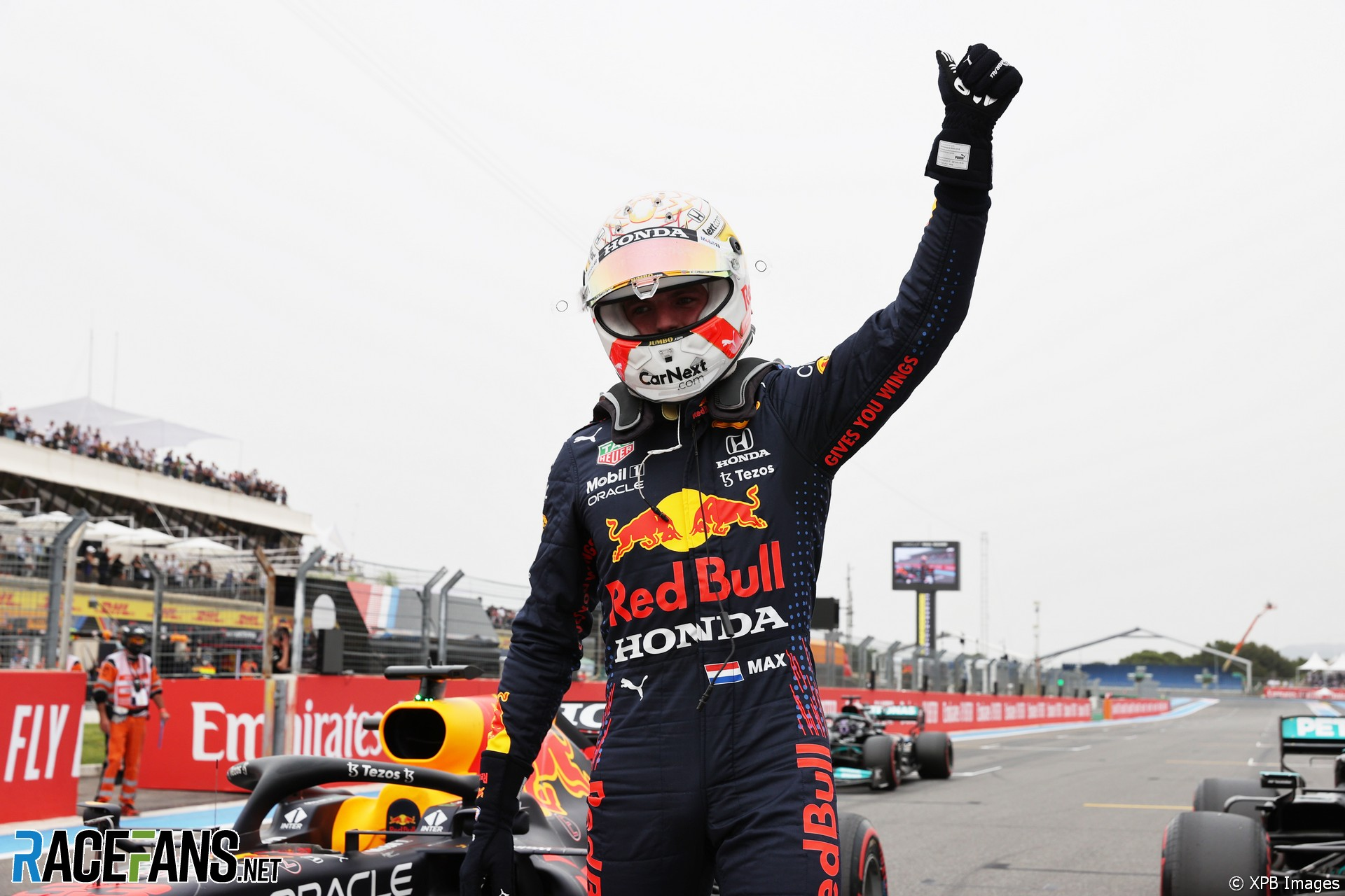 Max Verstappen (Red Bull Racing, RB16B) celebrating his Pole Position