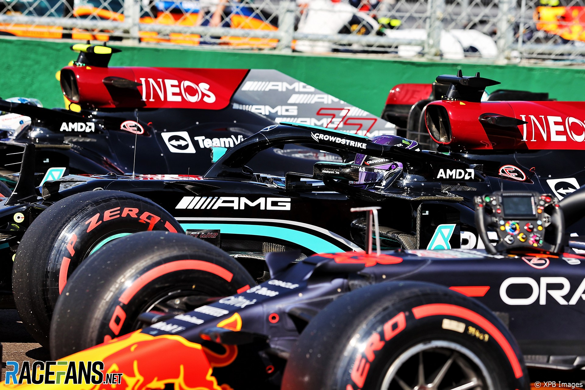 The Top Three Qualifiers : Third Place Max Verstappen (Red Bull Racing, RB16B), Pole Position Lewis Hamilton (Mercedes AMG F1 Team, F1 W12) and Second Place Valtteri Bottas (Mercedes AMG F1 Team, F1 W12)
