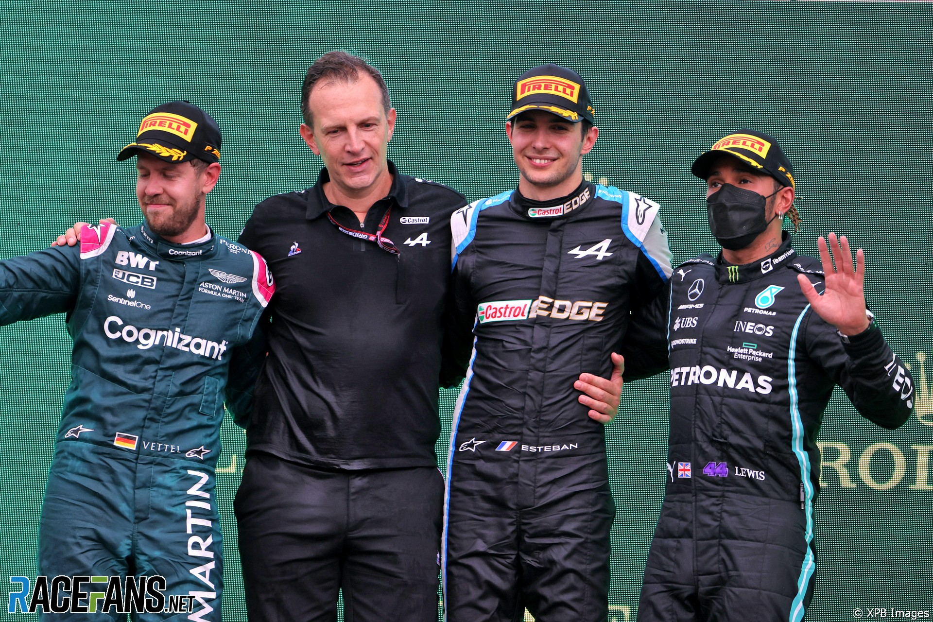The Podium : Second Place Sebastian Vettel (Aston Martin Racing), Race Winner Esteban Ocon (Alpine F1 Team) and Third Place Lewis Hamilton (Mercedes AMG F1 Team)